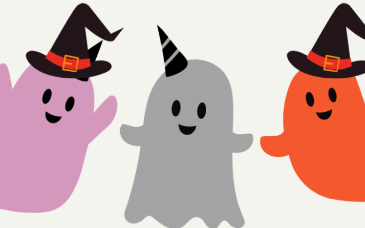 Picture of ghosts in witches hats
